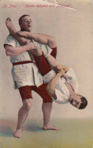 Yukio Tani demonstrating a flying armbar on William Bankier c.1906